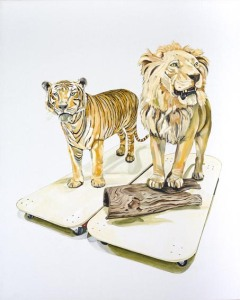 © Emma Lindsay 2015, Hunter/hunted (tiger + lion), oil on linen. Private collection.