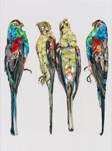 © Emma Lindsay 2012, Paradise Parrots (extinct), oil on Belgian linen. Private collection. Photo: Carl Warner.